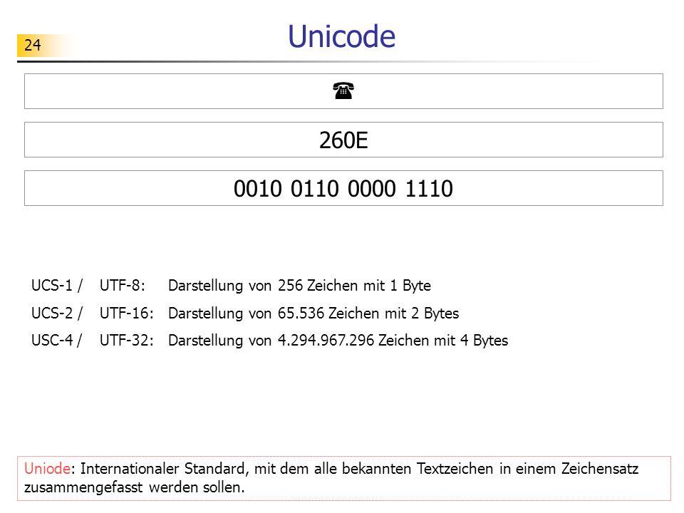 Unicode  260E. 0010 0110 0000 1110. UCS-1 / UTF-8: Darstellung von 256 Zeichen mit 1 Byte.