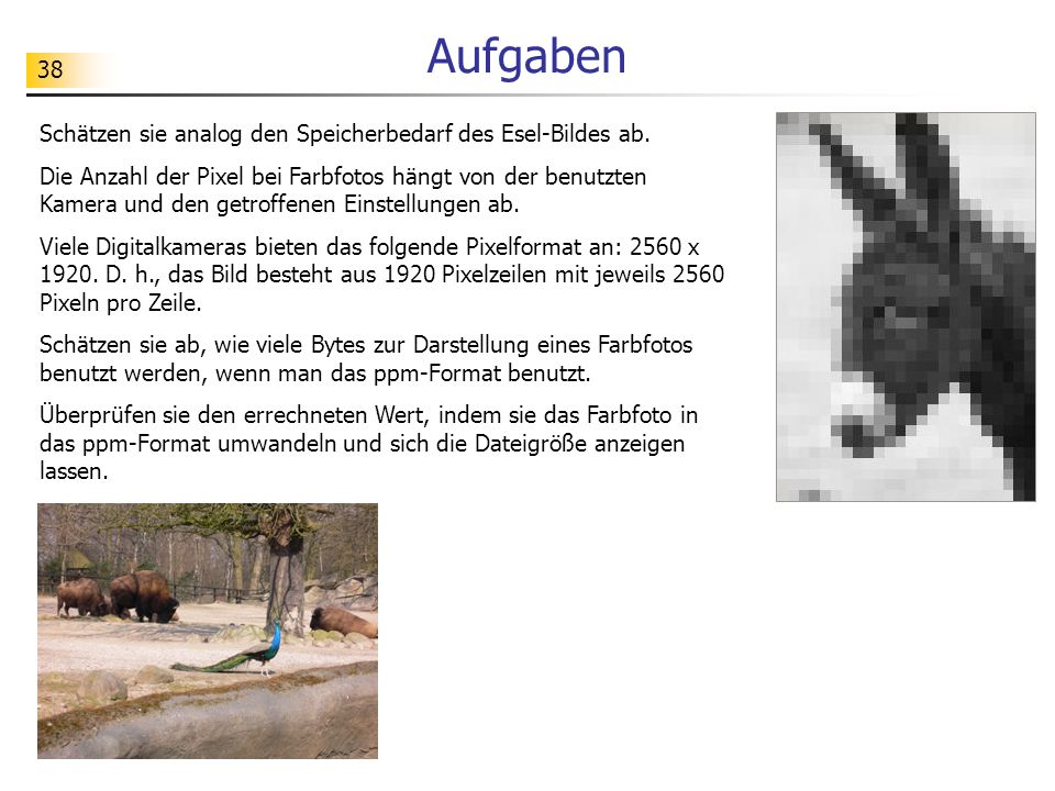 Aufgaben Schätzen sie analog den Speicherbedarf des Esel-Bildes ab.