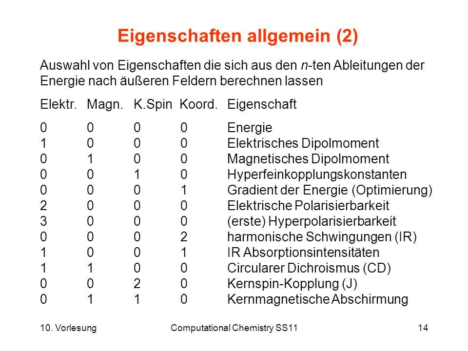 Eigenschaften allgemein (2)