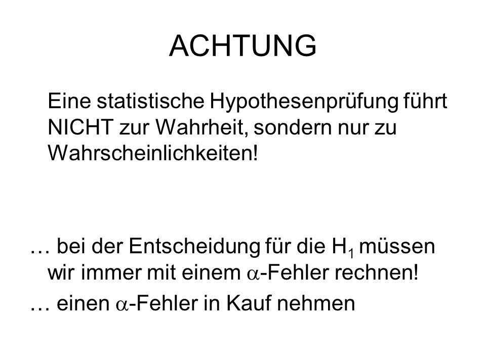 ACHTUNG Eine statistische Hypothesenprüfung führt NICHT zur Wahrheit, sondern nur zu Wahrscheinlichkeiten!