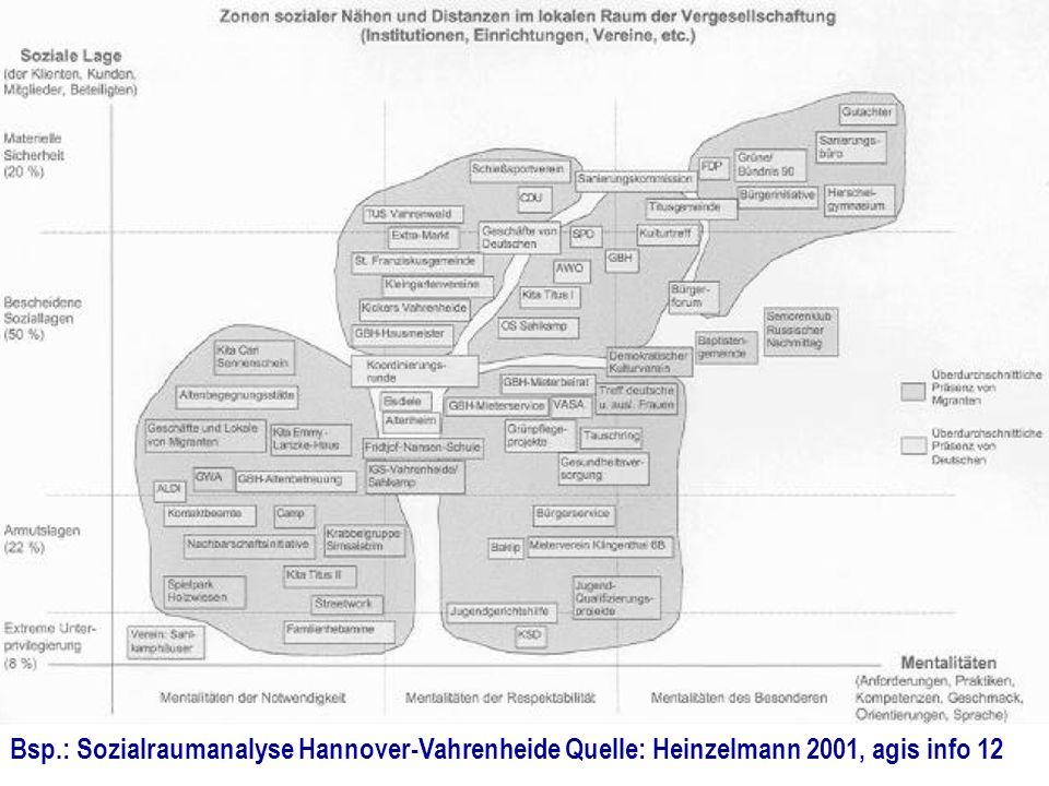 Bsp.: Sozialraumanalyse Hannover-Vahrenheide Quelle: Heinzelmann 2001, agis info 12