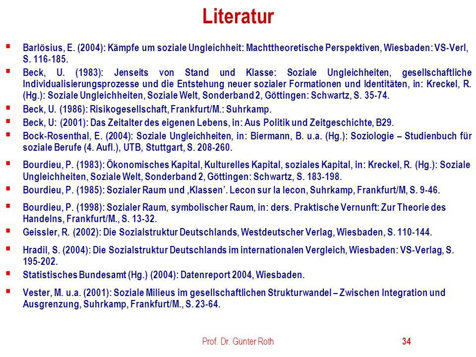 Literatur Barlösius, E. (2004): Kämpfe um soziale Ungleichheit: Machttheoretische Perspektiven, Wiesbaden: VS-Verl, S. 116-185.