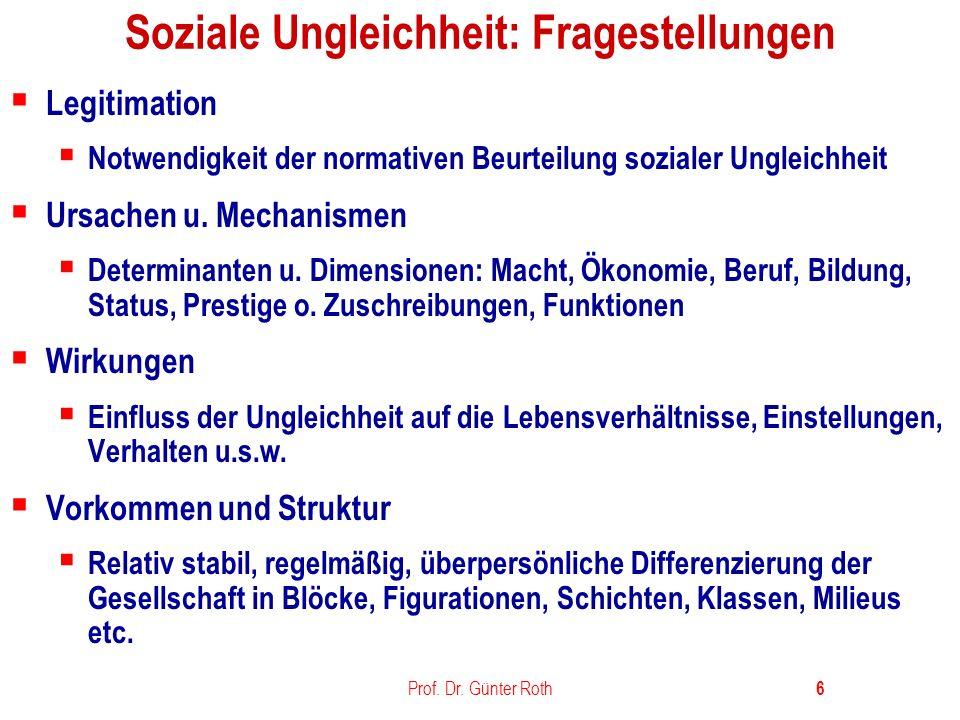 Soziale Ungleichheit: Fragestellungen
