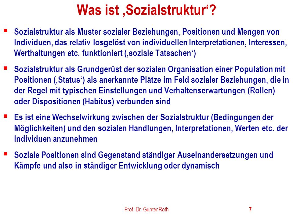 Was ist 'Sozialstruktur'