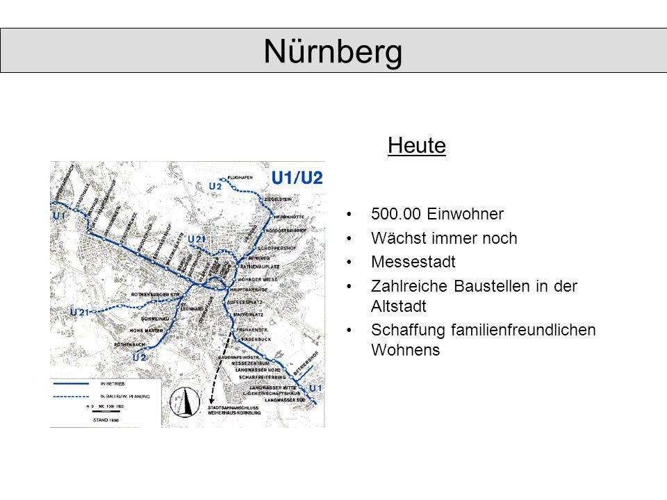 Nürnberg Heute 500.00 Einwohner Wächst immer noch Messestadt