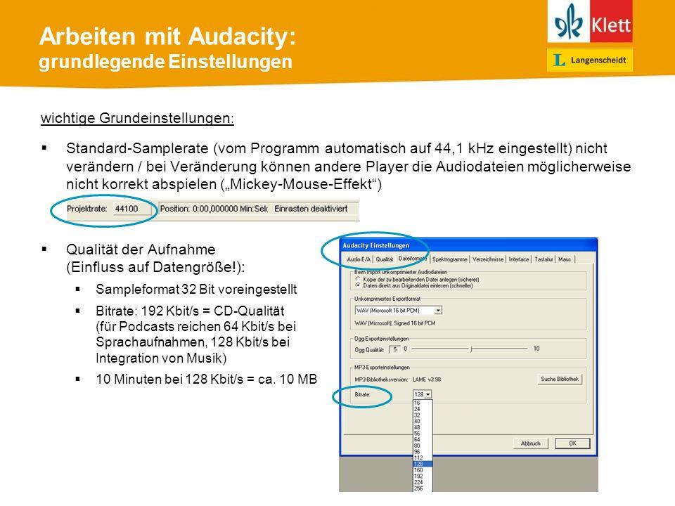 Arbeiten mit Audacity: grundlegende Einstellungen