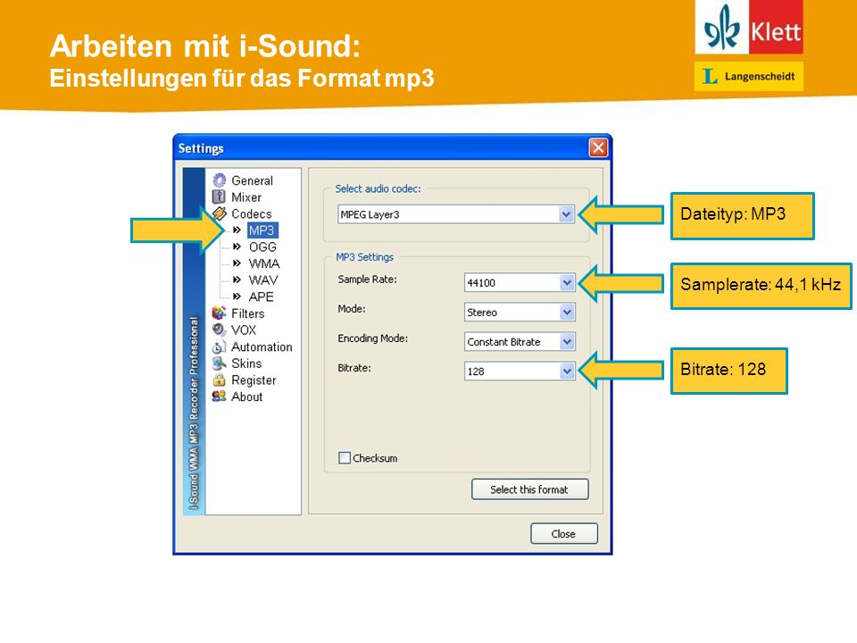 Arbeiten mit i-Sound: Einstellungen für das Format mp3