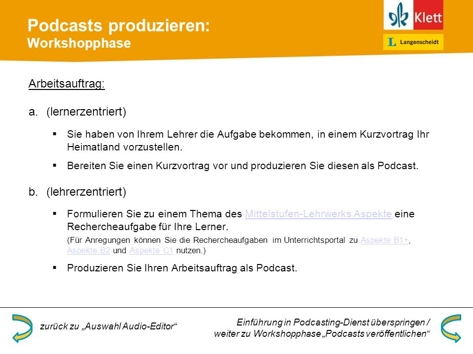 Podcasts produzieren: Workshopphase