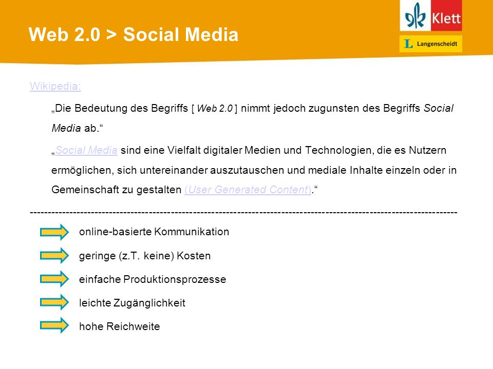 Web 2.0 > Social Media online-basierte Kommunikation Wikipedia: