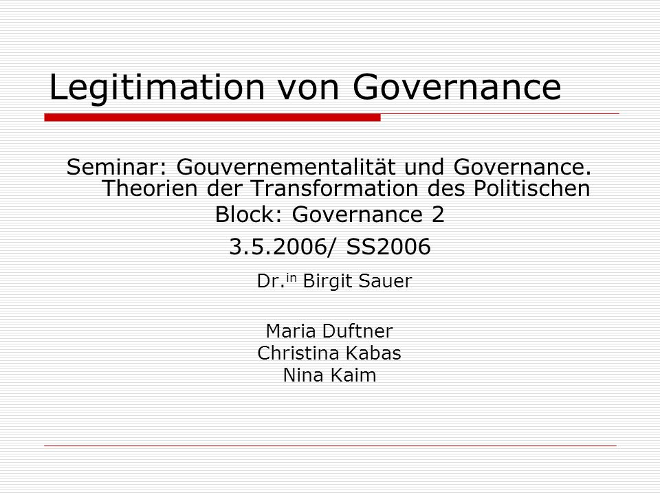 Legitimation von Governance