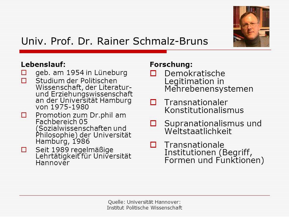 Univ. Prof. Dr. Rainer Schmalz-Bruns