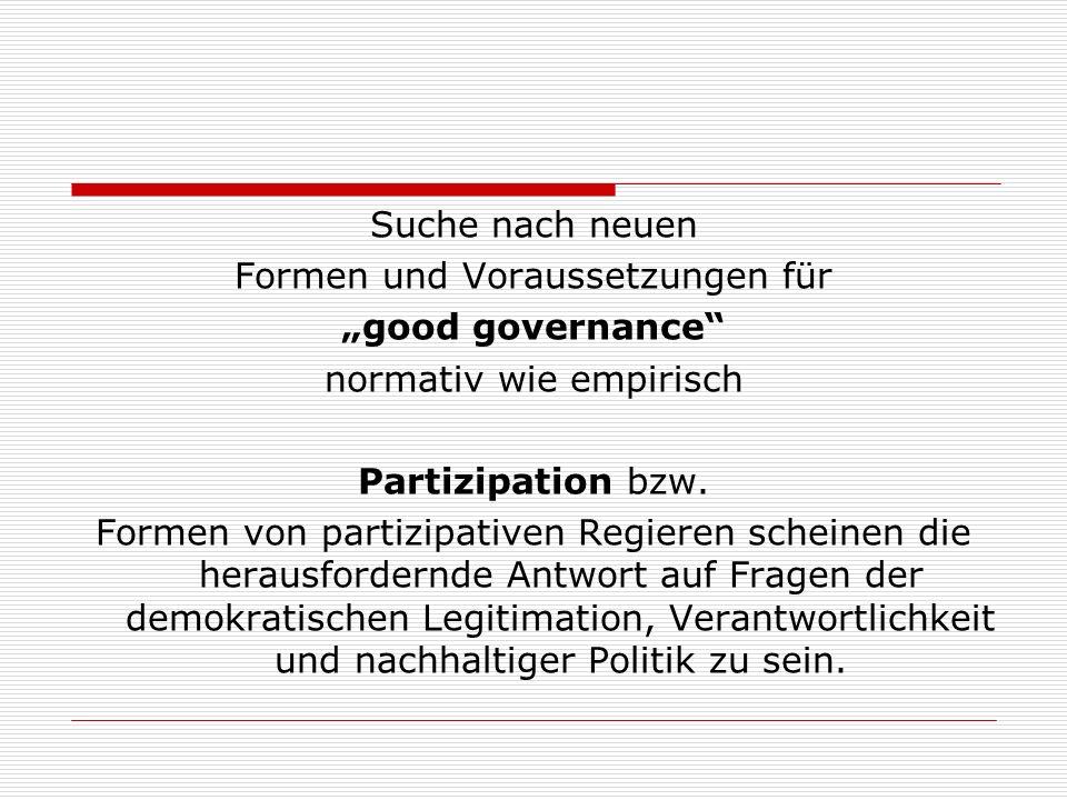 """Formen und Voraussetzungen für """"good governance"""