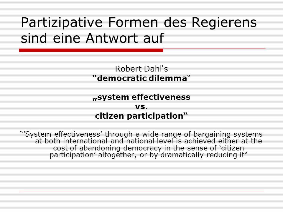 Partizipative Formen des Regierens sind eine Antwort auf