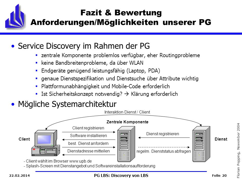 Fazit & Bewertung Anforderungen/Möglichkeiten unserer PG