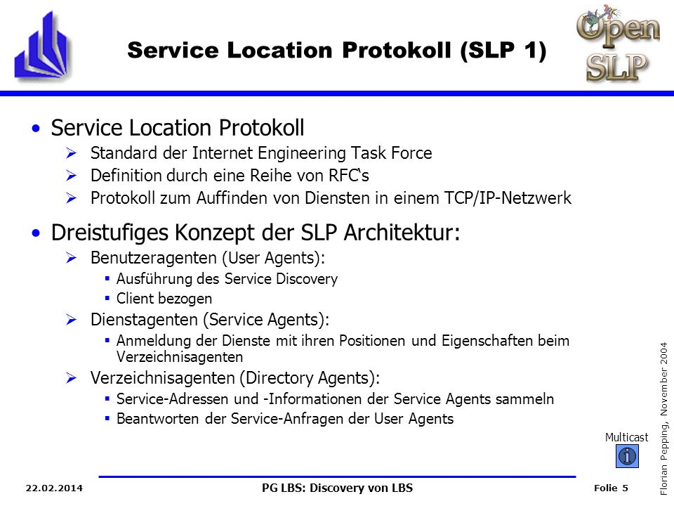 Service Location Protokoll (SLP 1)