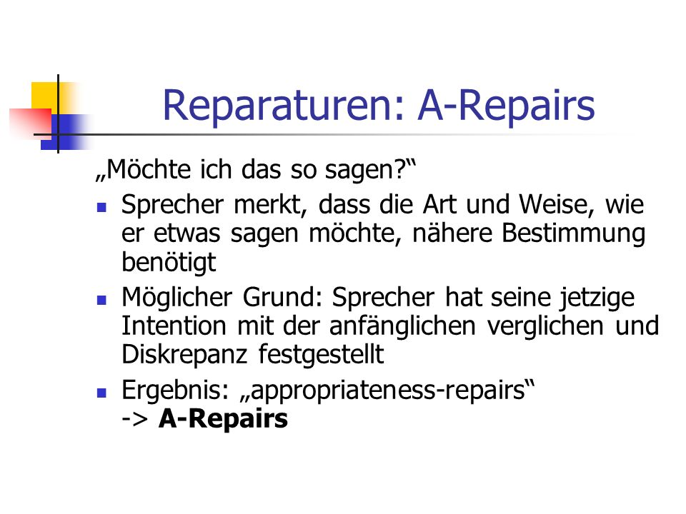 Reparaturen: A-Repairs