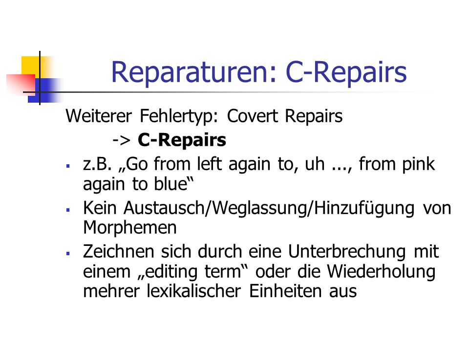 Reparaturen: C-Repairs