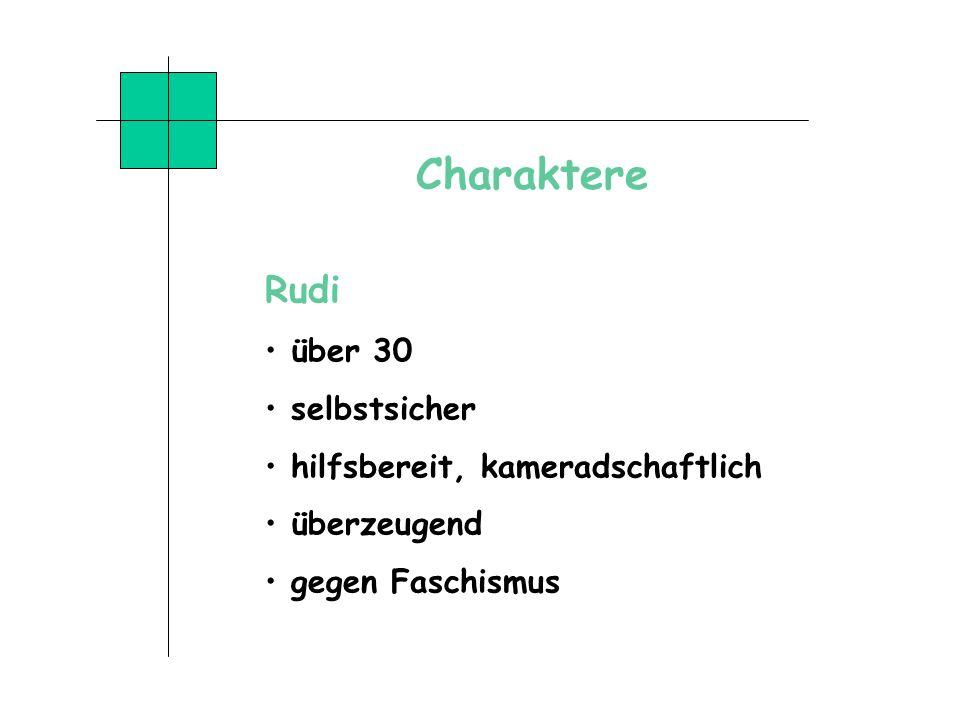 Charaktere Rudi über 30 selbstsicher hilfsbereit, kameradschaftlich