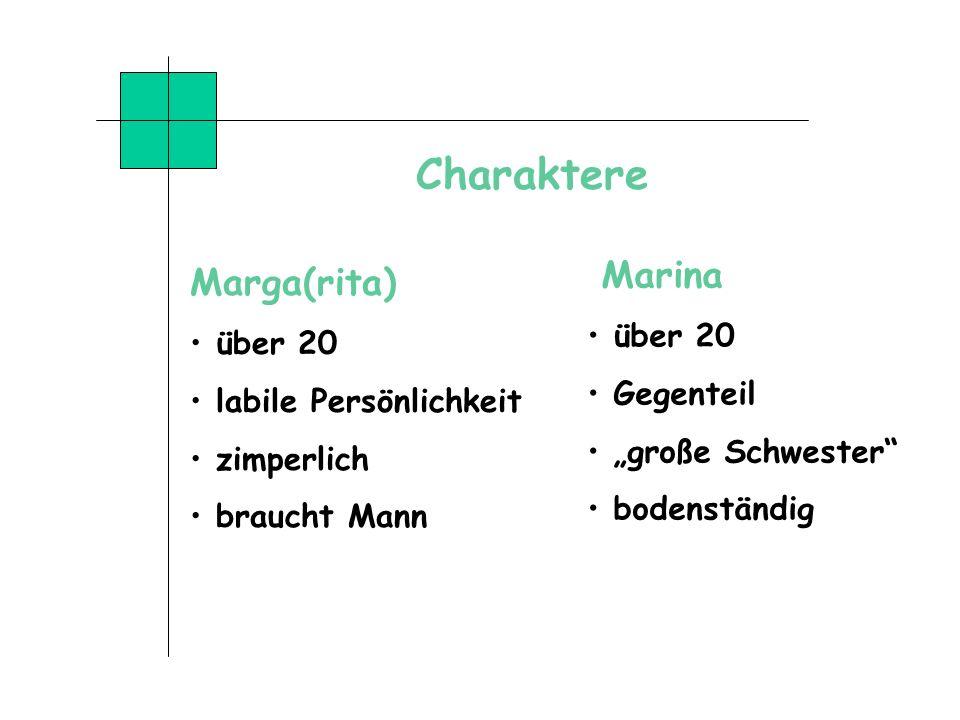 Charaktere Marga(rita) Marina über 20 über 20 Gegenteil