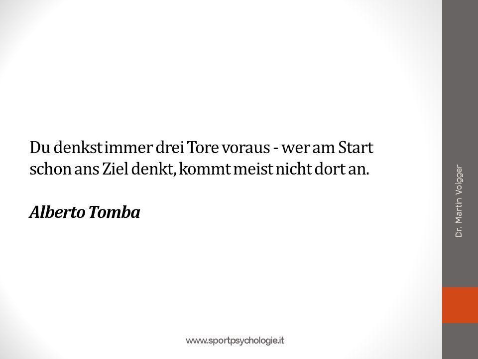 Du denkst immer drei Tore voraus - wer am Start schon ans Ziel denkt, kommt meist nicht dort an. Alberto Tomba