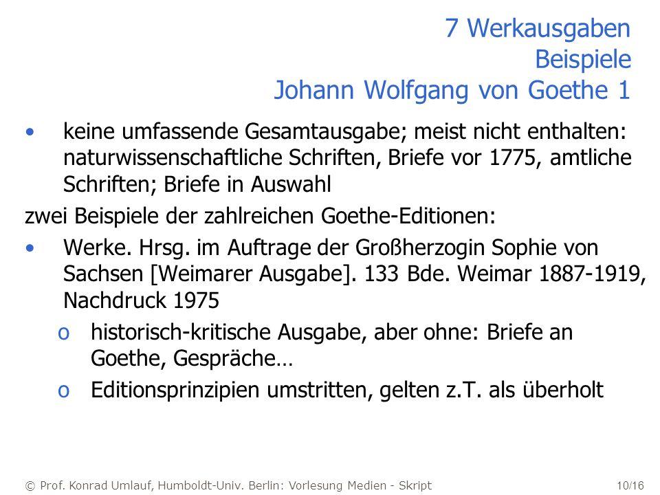 7 Werkausgaben Beispiele Johann Wolfgang von Goethe 1