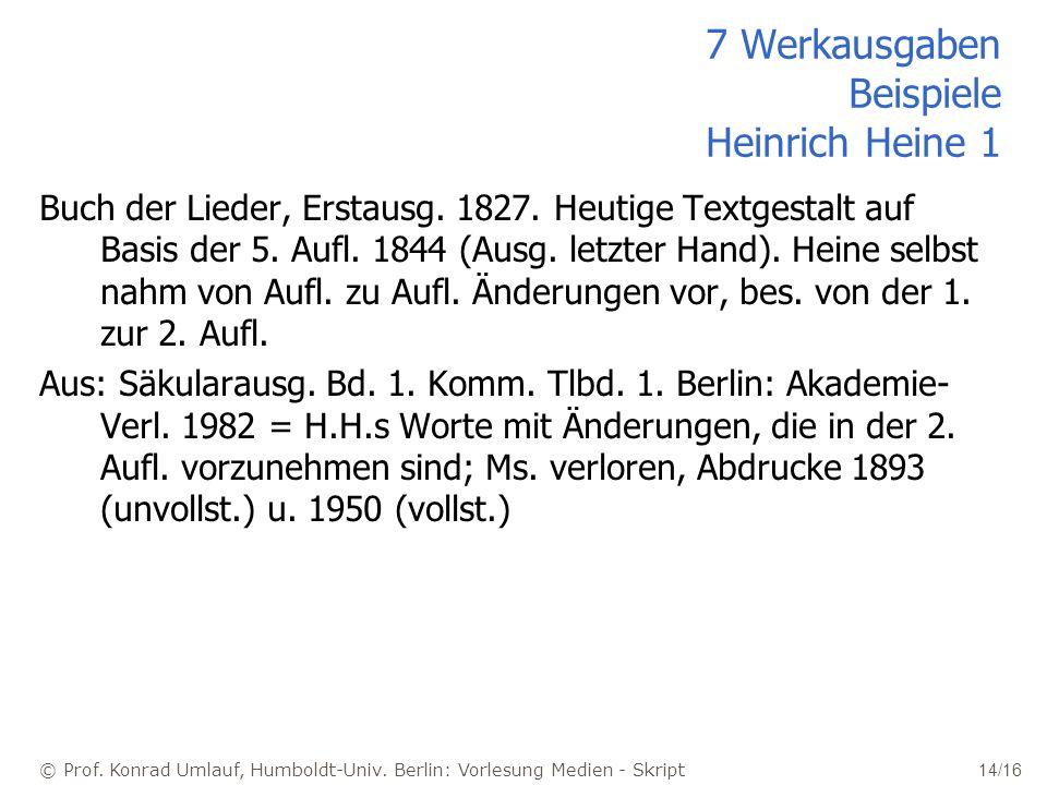 7 Werkausgaben Beispiele Heinrich Heine 1