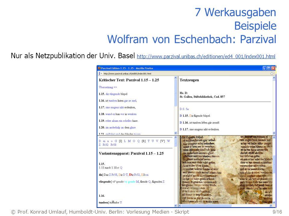 7 Werkausgaben Beispiele Wolfram von Eschenbach: Parzival