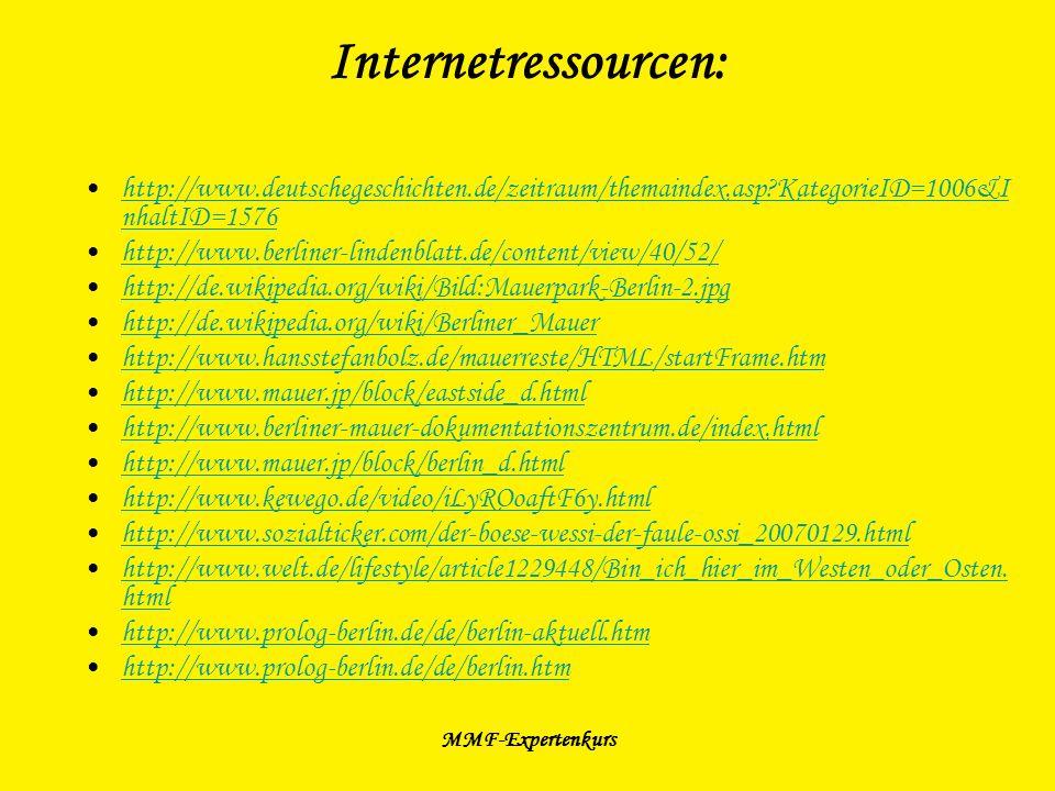 Internetressourcen: http://www.deutschegeschichten.de/zeitraum/themaindex.asp KategorieID=1006&InhaltID=1576.