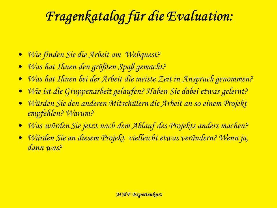 Fragenkatalog für die Evaluation: