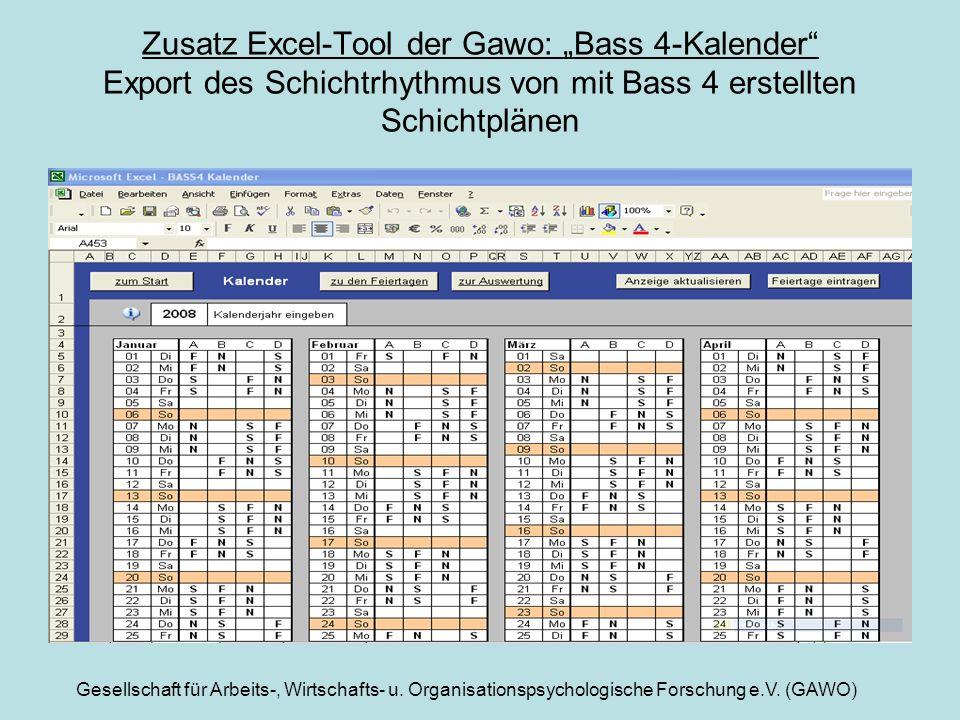 """Zusatz Excel-Tool der Gawo: """"Bass 4-Kalender Export des Schichtrhythmus von mit Bass 4 erstellten Schichtplänen"""