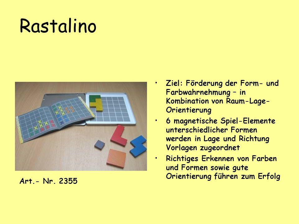 Rastalino Ziel: Förderung der Form- und Farbwahrnehmung – in Kombination von Raum-Lage-Orientierung.