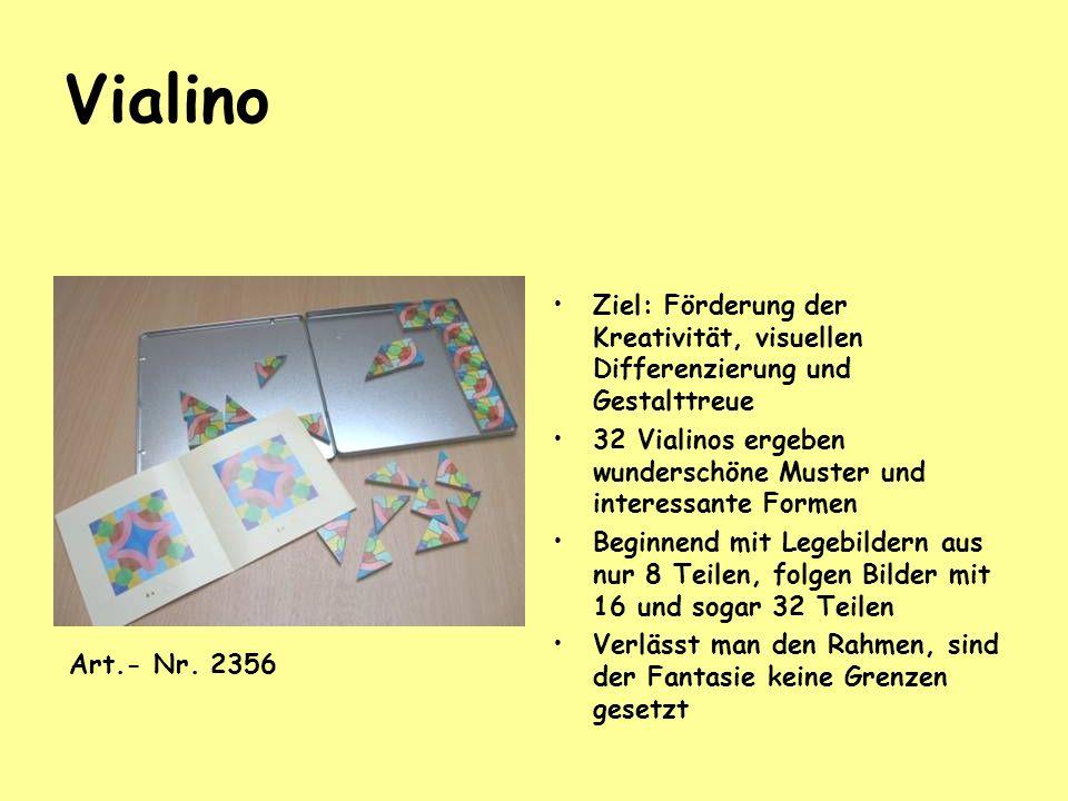 Vialino Ziel: Förderung der Kreativität, visuellen Differenzierung und Gestalttreue. 32 Vialinos ergeben wunderschöne Muster und interessante Formen.