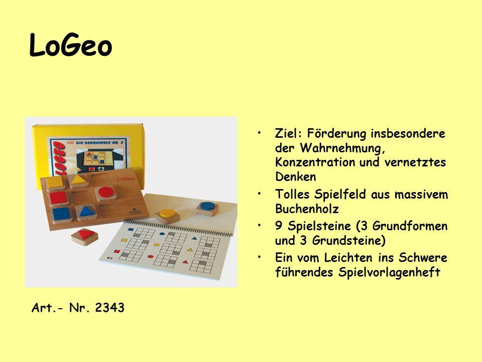 LoGeo Ziel: Förderung insbesondere der Wahrnehmung, Konzentration und vernetztes Denken. Tolles Spielfeld aus massivem Buchenholz.