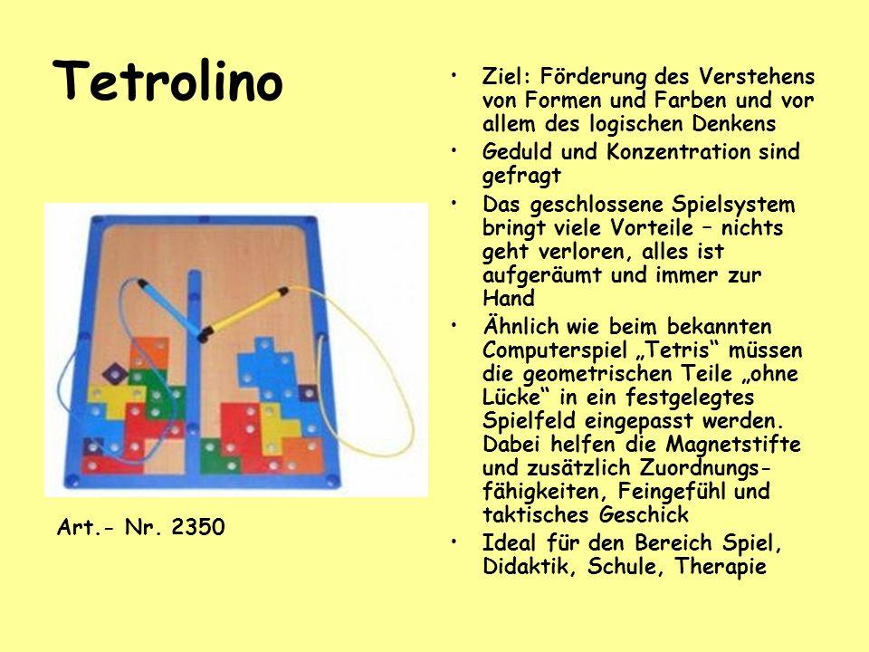 Tetrolino Ziel: Förderung des Verstehens von Formen und Farben und vor allem des logischen Denkens.