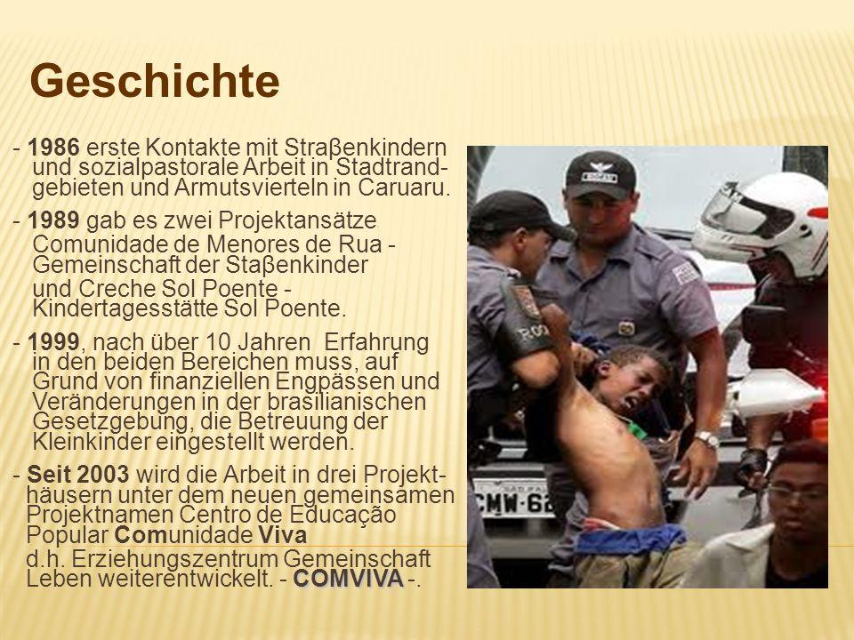 Geschichte- 1986 erste Kontakte mit Straβenkindern und sozialpastorale Arbeit in Stadtrand- gebieten und Armutsvierteln in Caruaru.