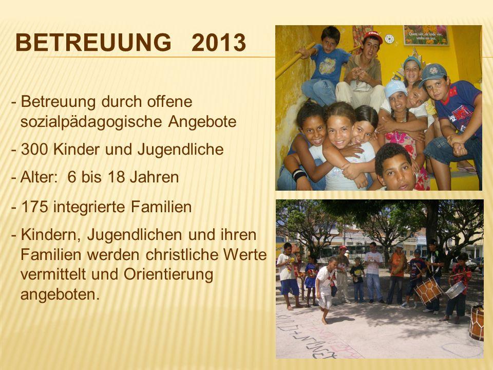 BETREUUNG 2013- Betreuung durch offene sozialpädagogische Angebote - 300 Kinder und Jugendliche - Alter: 6 bis 18 Jahren.