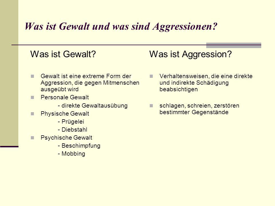 Was ist Gewalt und was sind Aggressionen