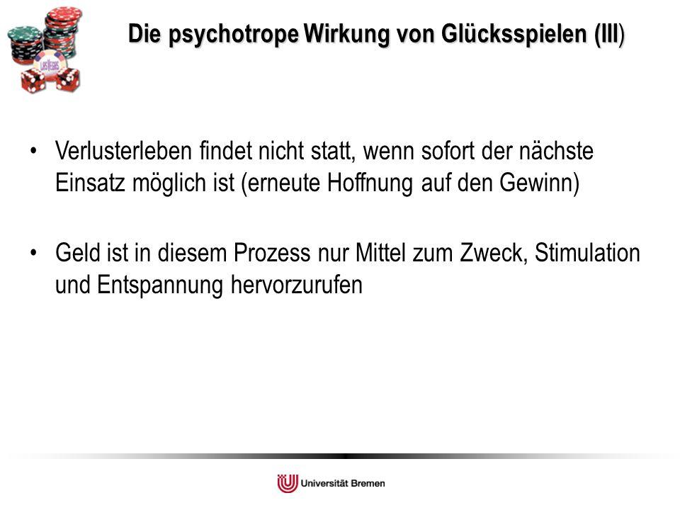 Die psychotrope Wirkung von Glücksspielen (III)