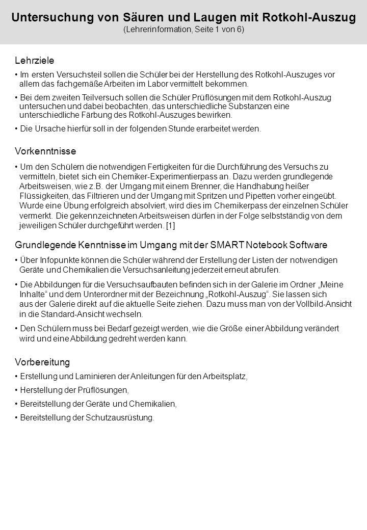Untersuchung von Säuren und Laugen mit Rotkohl-Auszug (Lehrerinformation, Seite 1 von 6)