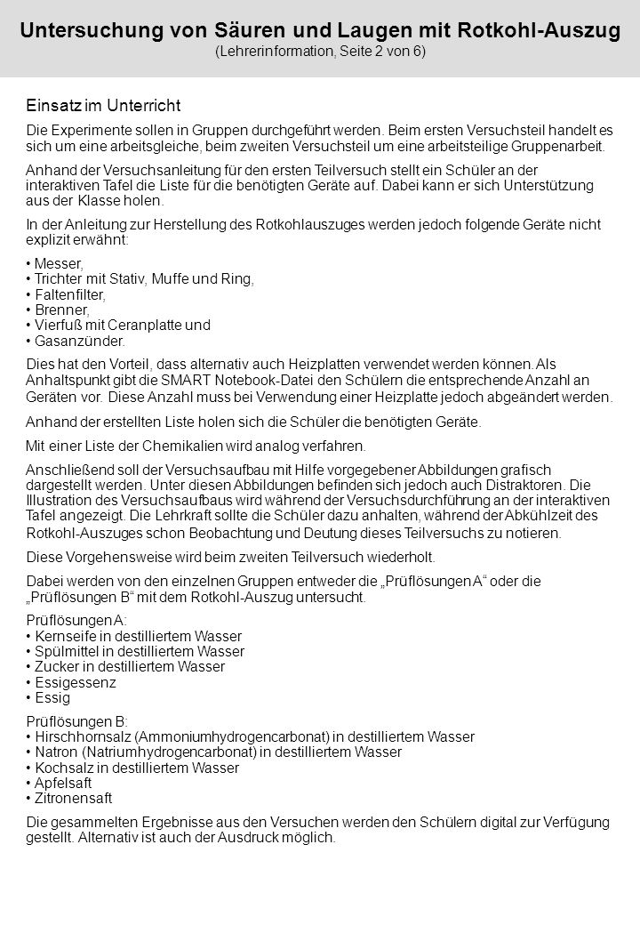 Untersuchung von Säuren und Laugen mit Rotkohl-Auszug (Lehrerinformation, Seite 2 von 6)