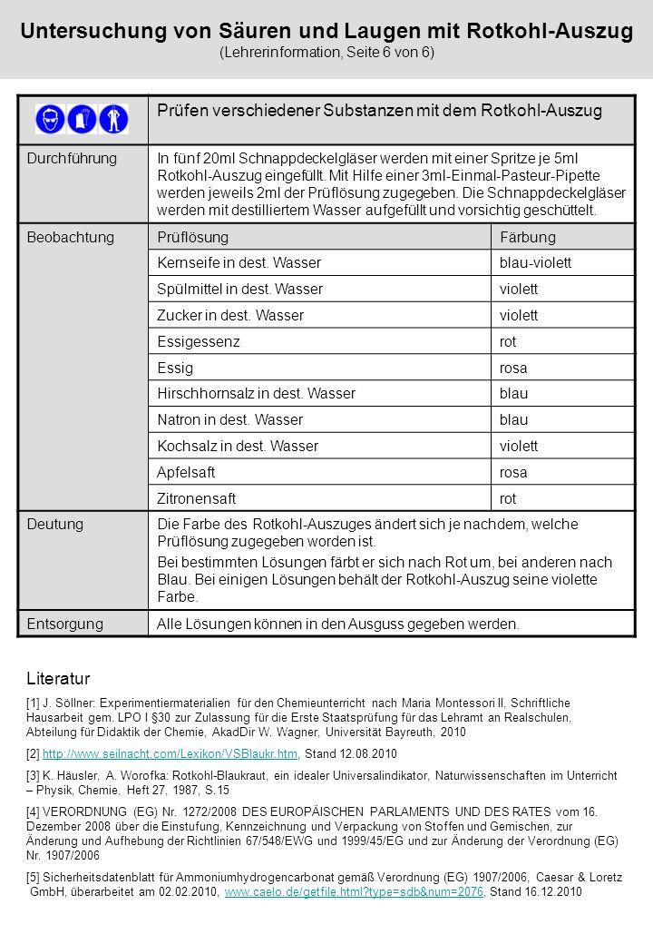 Untersuchung von Säuren und Laugen mit Rotkohl-Auszug (Lehrerinformation, Seite 6 von 6)