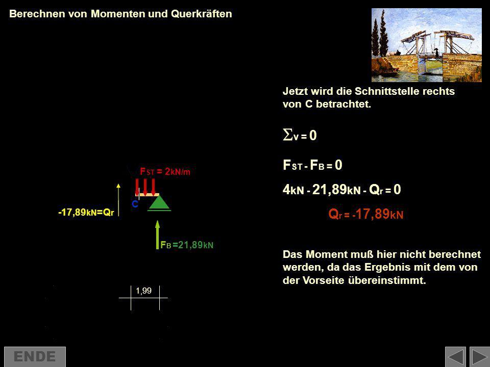 v = 0 FST - FB = 0 4kN - 21,89kN - Qr = 0 Qr = -17,89kN ENDE