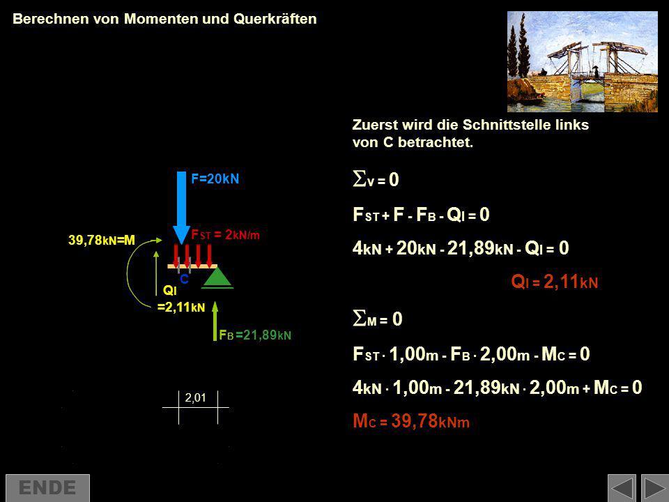 v = 0 M = 0 FST + F - FB - Ql = 0 4kN + 20kN - 21,89kN - Ql = 0
