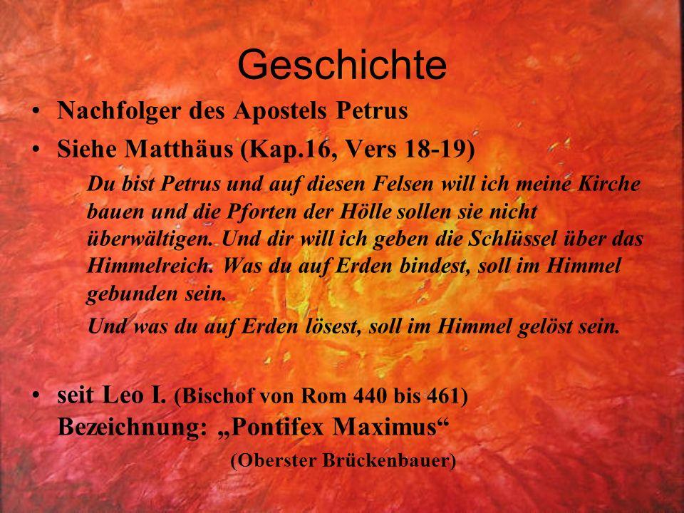 Geschichte Nachfolger des Apostels Petrus