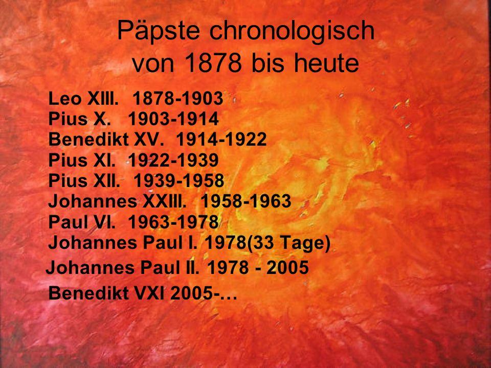 Päpste chronologisch von 1878 bis heute