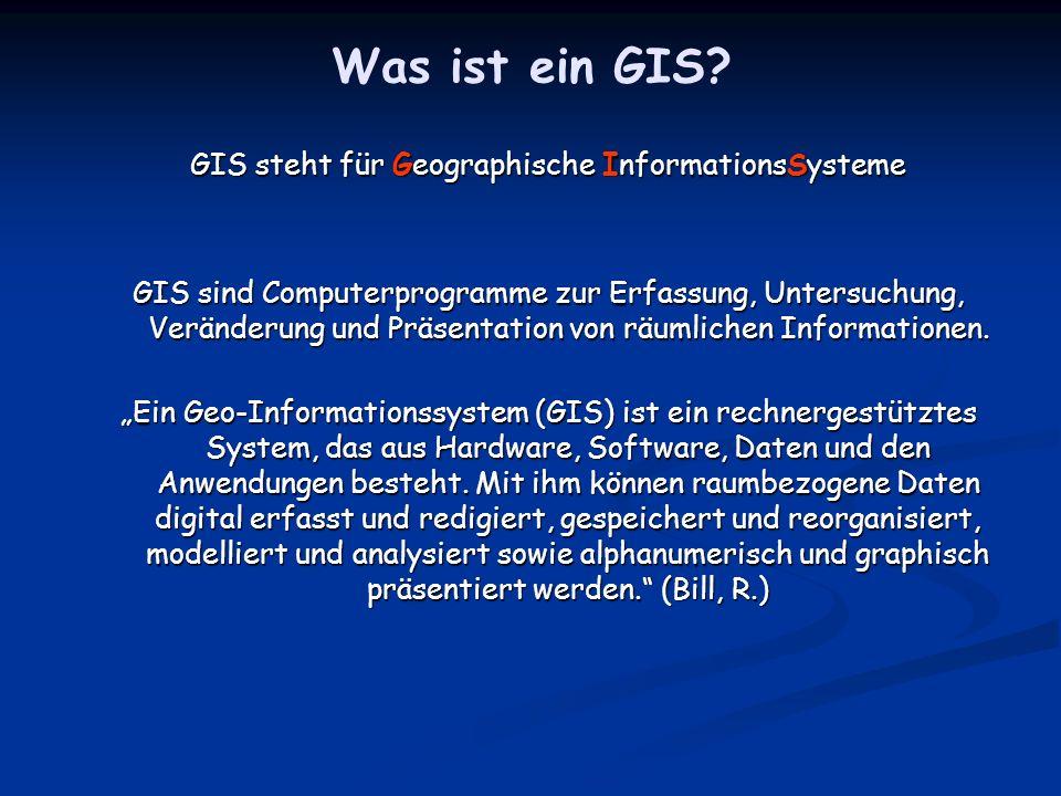 GIS steht für Geographische InformationsSysteme