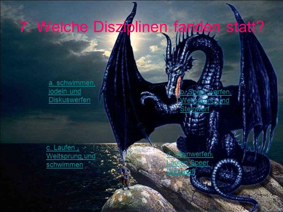 7. Welche Disziplinen fanden statt