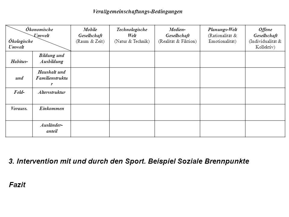 3. Intervention mit und durch den Sport. Beispiel Soziale Brennpunkte