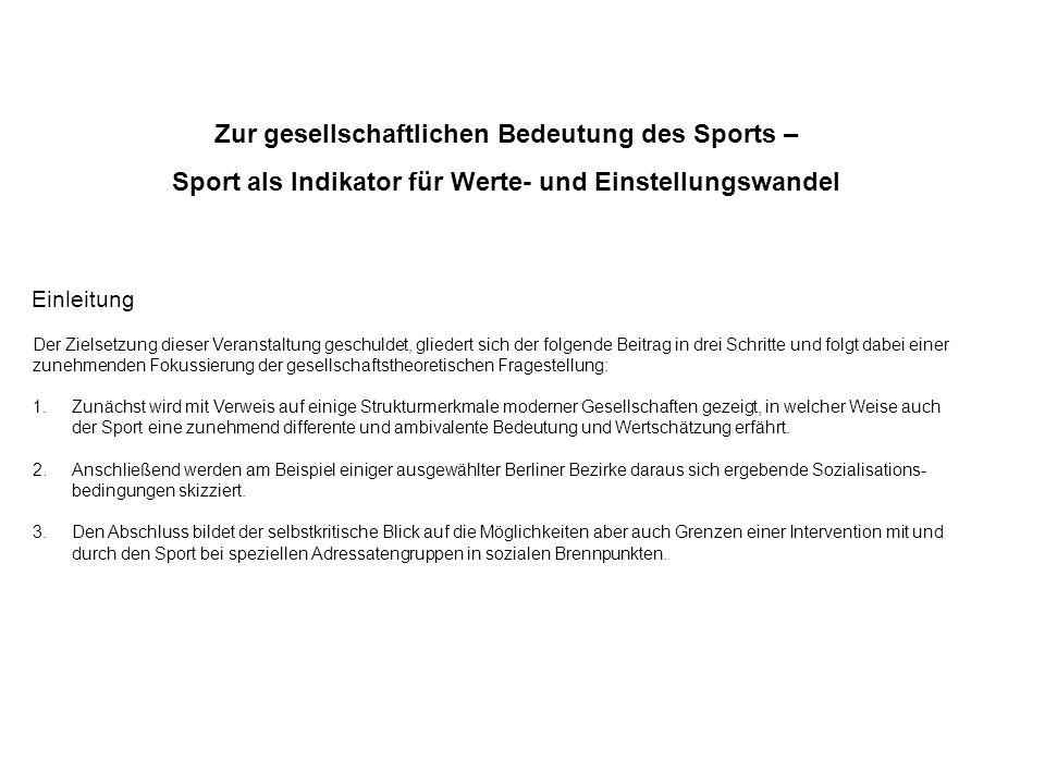 Zur gesellschaftlichen Bedeutung des Sports –