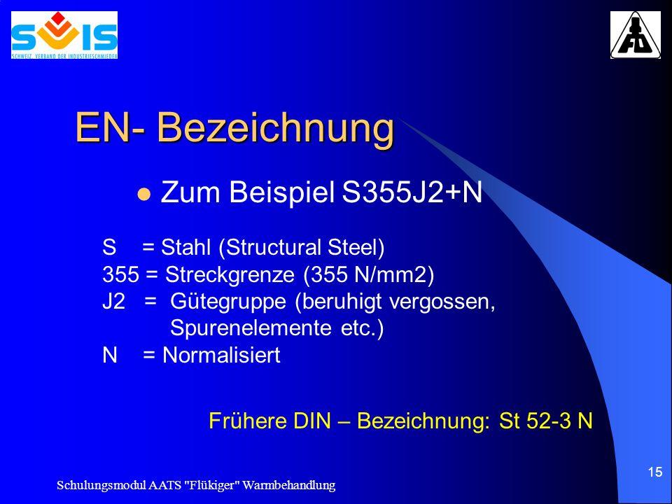 EN- Bezeichnung Zum Beispiel S355J2+N S = Stahl (Structural Steel)